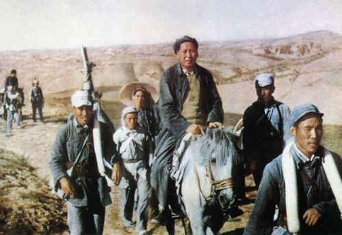 A retouched picture released by the official Chinese news agency Xinhua shows Mao Zedong, Chairman of the Chinese Communist Party from 1935 until his death in 1976, riding a horse during his trip to Shaanbei in 1947 during the civil war with Kuomintang. AFP PHOTO