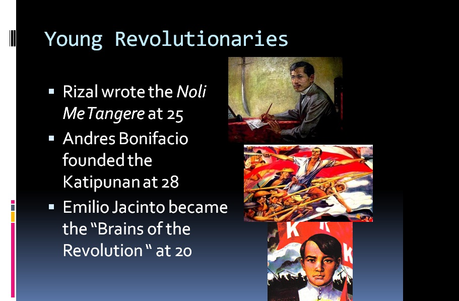 to the filipino youth rizal According to my observation, i can honestly say that the filipino youth didn't turned in what rizal wanted them to become because there is a big impact of modernization in the life of filipino youth.