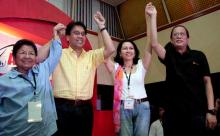 Left to Right: Etta Rosales (Former Akbayan Rep. and Present Commission on Human Rights Director), Mar Roxas (Department of Interior and Local Gov Director and Liberal Party Chief), Risa Hontiveros (Former Akbayan Rep. and Senatorial Candidate under Liberal Party Coalition), President Noynoy Aquino.