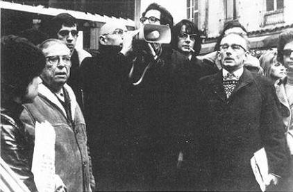 Sartre and Foucault protesting the treatment of Arab immigrants at the Goutte d'Or quarter in Paris, November 1971. Photo: Gérard Ai mé. Source: Magnum Photo.