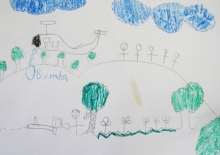 Artwork created by a child victim of aerial bombardment during a workshop initiated by the Children's Rehabilitation Center (CRC)-Ilocos. (Photo by Joan Garcia / bulatlat.com)