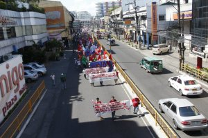 The frontline of the 5,000-strong International Labor Day march in Iloilo City last May 1, 2013.